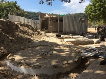 Figure 2. Toilet block and septic tanks under construction Pangani waterfront Feb 2018